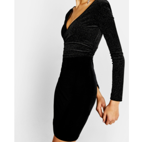 c1ba8f75b7218 Bershka Dresses | Fitted Black Sparkle Bodycon Dress Sz Sm | Poshmark